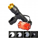 LT-TJ CREE XM-L T6 5-Mode 2000LM Adjustable Focus Flashlight with Bicycle Tail Light & Mounting Clip