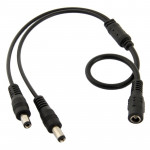 5.5mm x 2.1mm DC Power Female Barrel to 2 Male Barrel Connector Cable for LED Light Controller, Length: 35cm