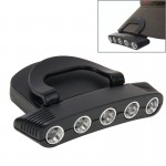 Outdoor Fishing Camping Hunting 5 LED White Light Adjustable Head Light Two Mode HeadLamp Cap Torch Bulb(Black)