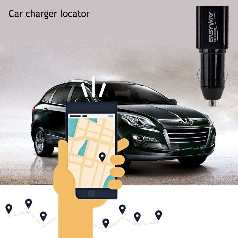 EASYWAY Quick-charge USB Port Car Locator Car Charger GPRS Tracker for  iPhone / iPad series, PSP, MP3 / MP4,Pocket PC PDA(Black)
