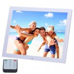 15 inch HD LED Screen Digital Photo Frame with Holder & Remote Control, Allwinner, Alarm Clock / MP3 / MP4 / Movie Player(White)