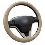 Car Microfiber Leather Steering Wheel Cover (Colour: Beige, Adaptation Steering wheel diameter: 38cm)