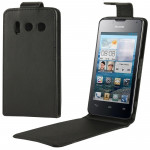 Vertical Flip Leather Case for Huawei Y300 (Black)