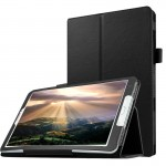 Litchi Texture Horizontal Flip Solid Color Leather Case with Holder for Samsung Galaxy Tab E 8.0 / T377V(Black)
