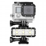 Waterproof Video Light lashlight with Base Mount & Screw & Dual Batteries for GoPro HERO4 Session /4 /3+ /3 /2 /1, Dazzne, XiaoY
