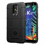 Shockproof Rugged Shield Full Coverage Protective Silicone Case for LG K12+ (Black)