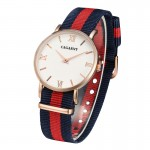 CAGARNY 6813 Fashionable Ultra Thin Rose Gold Case Quartz Wrist Watch with 3 Stripes Nylon Band for Women(Red)