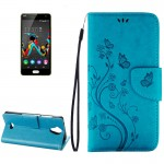Wiko U Feel Lite Pressed Flowers Horizontal Flip Leather Case with Magnetic Buckle & Holder & Card Slots & Wallet(Blue)