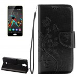 Wiko U Feel Lite Pressed Flowers Horizontal Flip Leather Case with Magnetic Buckle & Holder & Card Slots & Wallet(Black)