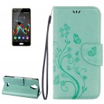Wiko U Feel Lite Pressed Flowers Horizontal Flip Leather Case with Magnetic Buckle & Holder & Card Slots & Wallet(Green)