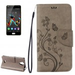 Wiko U Feel Lite Pressed Flowers Horizontal Flip Leather Case with Magnetic Buckle & Holder & Card Slots & Wallet(Grey)