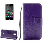 Wiko U Feel Lite Pressed Flowers Horizontal Flip Leather Case with Magnetic Buckle & Holder & Card Slots & Wallet(Purple)