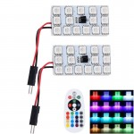 2 PCS Colorful 41MM T10 + Bicuspid Port Remote Control Car Dome Lamp LED Reading Light with 15 LED Lights