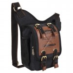 KAUKKO FH03 Retro Style Men Canvas Crossbody Bag Messenger Bag Outdoors Hiking Camping Bag, Size: 26 x 21 x 9 cm(Black)
