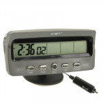 3.6 inch LCD Car Digital Thermometer with Time / Date / Week / Alarm / Car Storage Battery Voltage Display(Black)