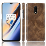 Litchi Texture PC + PU Shockproof Case for OnePlus 7(Brown)