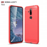 Brushed Texture Carbon Fiber TPU Case for Nokia 6.2 / X71(Red)