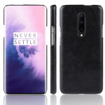 Shockproof Litchi Texture PC + PU Case for OnePlus 7 Pro(Black)