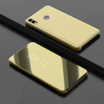 Electroplating Mirror Horizontal Flip Leather Case for Xiaomi Redmi Note 7/Redmi Note 7 Pro with Holder(Gold)