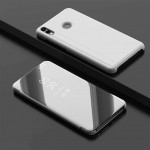 Electroplating Mirror Horizontal Flip Leather Case for Xiaomi Redmi Note 7/Redmi Note 7 Pro with Holder(Silver)