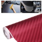 Car Decorative 3D Carbon Fiber PVC Sticker, Size: 152cm x 50cm(Wind Red)