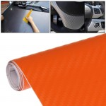 Car Decorative 3D Carbon Fiber PVC Sticker, Size: 152cm x 50cm(Orange)