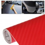 Car Decorative 3D Carbon Fiber PVC Sticker, Size: 152cm x 50cm(Red)