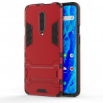 Shockproof PC + TPU Case for OnePlus 7 Pro, with Holder(Red)
