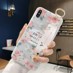 Flowers Pattern Wrist Strap Soft TPU Protective Case For iPhone XR(Flowers Wrist strap model B)