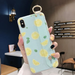 Lemon Pattern Wrist Strap TPU Case For iPhone XR(Lemon Pattern model C)