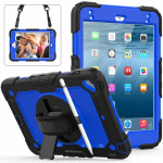Shockproof Black Silica Gel + Colorful PC Protective Case for iPad Mini 2019 / Mini 4, with Holder & Shoulder Strap & Hand Strap