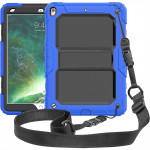 Shockproof PC + Silica Gel Protective Case for iPad Air (2019), with Holder & Shoulder Strap(Blue)
