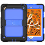 Shockproof Transparent PC + Silica Gel Protective Case for iPad Mini 2019 / Mini 4, with Holder & Shoulder Strap (Blue)