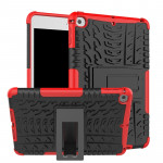 Tire Texture TPU+PC Shockproof Case for iPad Mini 2019, with Holder (Red)