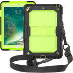Shockproof Transparent PC + Silica Gel Protective Case for iPad 9.7 (2018), with Holder & Shoulder Strap (Green)