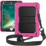 Shockproof PC + Silica Gel Protective Case for iPad 9.7 (2018), with Holder & Shoulder Strap (Rose Red)