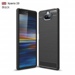Brushed Texture Carbon Fiber TPU Case for Sony Xperia 20(Black)