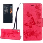 For Sony Xperia XA Ultra Butterflies Embossing Horizontal Flip Leather Case with Holder & Card Slots & Wallet & Lanyard(Magenta)