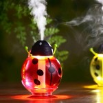 260ML 360 Degree Rotation Beetle Aromatherapy Air Purifier Humidifier with LED Light & Sucker Base for Home / Office / Car (Red)
