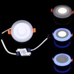 3W + 3W Wide Voltage Isolation Two Color(White + Blue) Round LED Double Panel Light Wall Ceiling Lamp with 3 luminescence Mode,
