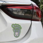 Baby in Car Happy Feet Shape Adoreable Style Car Free Sticker(Green)