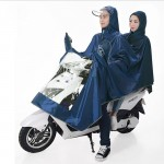 Universal Super Water-Resistant Dual Hooded Motorcycle Rain Poncho Coat Raincoat(Blue)