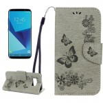 For Samsung Galaxy S8 Butterflies Embossing Horizontal Flip Leather Case with Holder & Card Slots & Wallet & Lanyard(Grey)