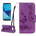 For Samsung Galaxy S8 Butterflies Embossing Horizontal Flip Leather Case with Holder & Card Slots & Wallet & Lanyard(Purple)