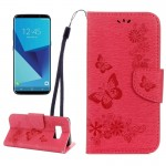 For Samsung Galaxy S8 Butterflies Embossing Horizontal Flip Leather Case with Holder & Card Slots & Wallet & Lanyard(Red)