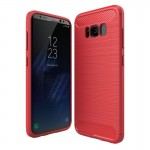 For Samsung Galaxy S8 Brushed Carbon Fiber Texture Shockproof TPU Protective Cover Case (Red)