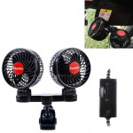 HUXIN HX-T606E 12W 360 Degree Adjustable Rotation Clip Two Head Low Noise Mini Electric Car Fan with Roller Switch, DC24V