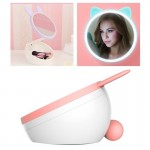 5W Multi-function Touch Switch Rechargeable Creative Lovely Pet Shape Makeup Mirror LED Desk Lamp Night Light(Pink)