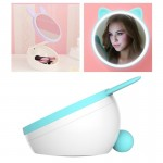 5W Multi-function Touch Switch Rechargeable Creative Lovely Pet Shape Makeup Mirror LED Desk Lamp Night Light(Blue)