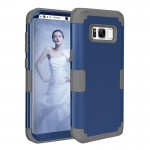 For Samsung Galaxy S8 Dropproof 3 in 1 Silicone sleeve for mobile phone (Dark Blue)